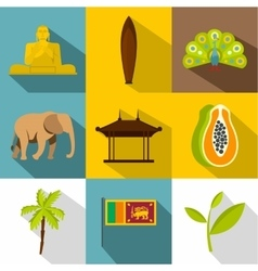 Attractions of sri lanka icons set flat style vector
