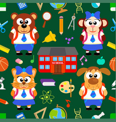 Back to school seamless with funny animals vector