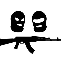 Balaclavas and machine gun vector