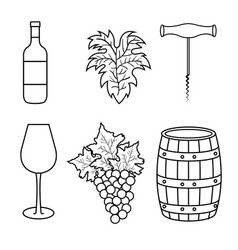best wine set icons vector image vector image