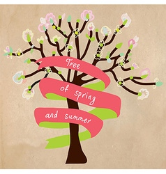 Blossoming tree card with frame for text vector