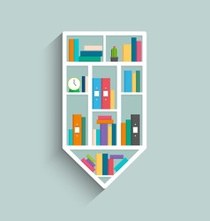 Bookshelf in form of pencil with colorful books vector
