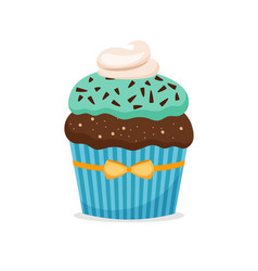 brownie cupcake with blue frosting vector image vector image