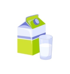 Carton and glass of milk based product isolated vector