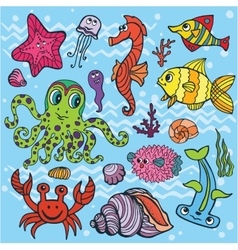 Cartoon Funny Fish Sea Life setColored Doodle vector image