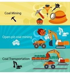 Coal industry banners set vector image vector image