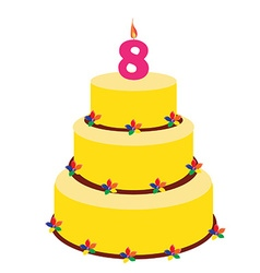 Eighth birthday cake vector