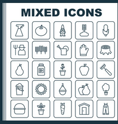 Farm icons set collection of tree stub vector