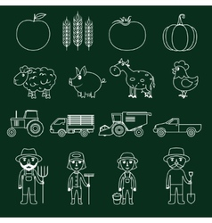 Farm icons set outline vector image vector image