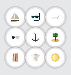 Flat icon season set of deck chair wiper scuba vector