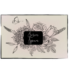 floral frame -black and white vector image vector image