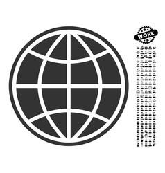 Globe icon with men bonus vector