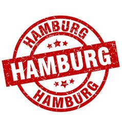 Hamburg red round grunge stamp vector