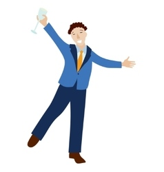 Happy businessman in formal suit with champagne vector