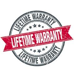 Lifetime warranty red round grunge vintage ribbon vector