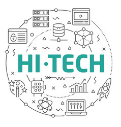 line flat circle hitech vector image vector image