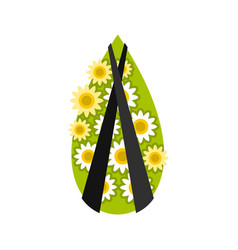 Memorial wreath icon flat style vector