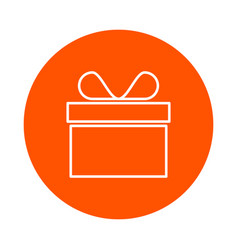 Monochrome round gift icon in a box with a vector