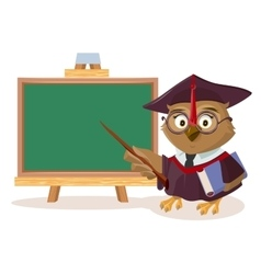 Owl teacher with book and pointer stands near vector image vector image