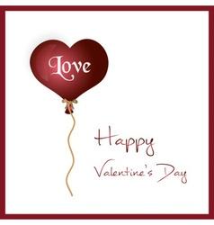 Red helium balloon heart shape valentine card vector