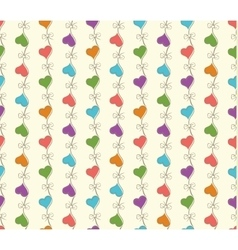 retro seamless pattern with colorful hearts vector image