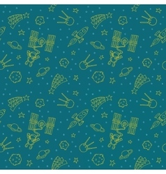 Seamless doodle space pattern vector