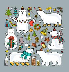 Set of colored polar bear icons vector