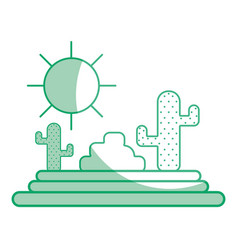 silhouette cactus with sun natural aventure vector image vector image