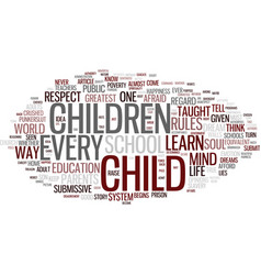 The life of a child text background word cloud vector