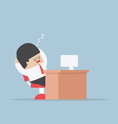 Tired businessman falls asleep at his desk vector
