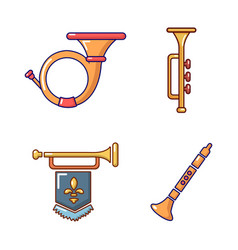 Trumpet icon set cartoon style vector