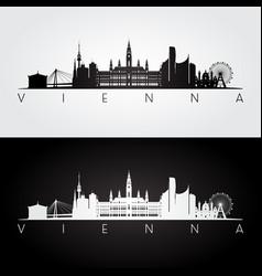 vienna skyline and landmarks silhouette vector image