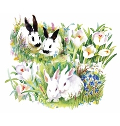Watercolor rabbits with flowers seamless pattern vector