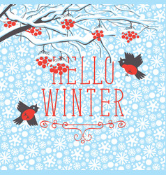 winter landscape with snow-covered rowan and birds vector image vector image