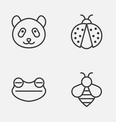 Zoology icons set collection of bear bumblebee vector