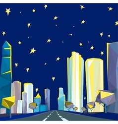 01 polygonal night cityscape vector