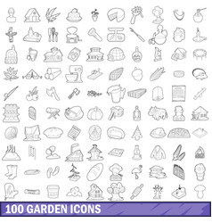 100 garden icons set outline style vector