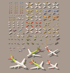 isometric low poly transport set vector image