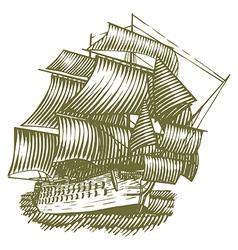 Woodcut Ship vector image