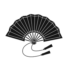 Folding fan icon in black style isolated on white vector