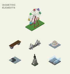 Isometric city set of bench recreation bridge vector