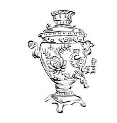 Russian samovar  sketch tea vector