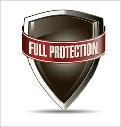 Full protection silver and brown shield vector
