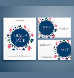 Wedding suite invitation card with flower vector