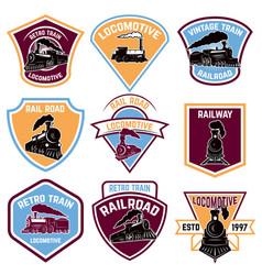 Set of emblems with vintage train retro rail road vector