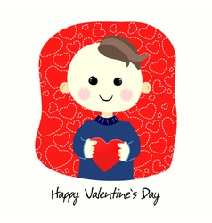 Valentines day postcard with boy vector