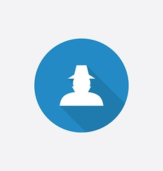Detective flat blue simple icon with long shadow vector