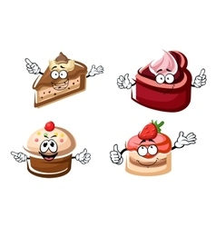 Sweet chocolate biscuit and fruity cakes vector