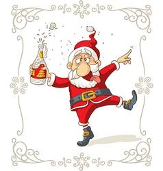 Drunk Santa Dancing Cartoon vector image