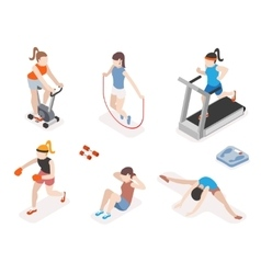 Fitness women in gym gymnastics workout and yoga vector